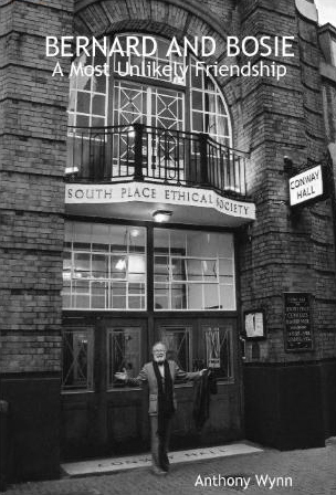 Photo of actor Barry Morse in front of Conway Hall, London.